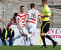 ::  HAMILTON'S DOUGIE IMRIE CELEBRATES WITH JAMES CHAMBERS AFTER HE SCORES ::.25/04/2011  sct_jsp019_hamilton_v_aberdeen  .Copyright  Pic : James Stewart.James Stewart Photography 19 Carronlea Drive, Falkirk. FK2 8DN      Vat Reg No. 607 6932 25.Telephone      : +44 (0)1324 570291 .Mobile              : +44 (0)7721 416997.E-mail  :  jim@jspa.co.uk.If you require further information then contact Jim Stewart on any of the numbers above........