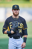 Jared Walsh (14) of the Salt Lake Bees poses for a photo before the game against the  El Paso Chihuahuas at Smith's Ballpark on August 13, 2018 in Salt Lake City, Utah. Salt Lake defeated El Paso 4-3. (Stephen Smith/Four Seam Images)