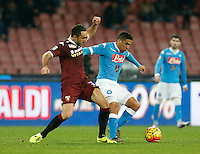Napoli's Miguel Allan controls the ball during the  italian serie a soccer match,between SSC Napoli and Torino      at  the San  Paolo   stadium in Naples  Italy , January 07, 2016