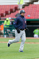 Cedar Rapids Kernels coach Luis Antonio Rodriguez (22) during a Midwest League game against the Kane County Cougars at Northwestern Medicine Field on April 28, 2019 in Geneva, Illinois. Cedar Rapids defeated Kane County 3-2 in game two of a doubleheader. (Zachary Lucy/Four Seam Images)