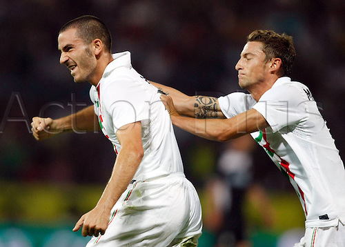 19.08.2010 Europa League SK Sturm Graz v Juventus Play Off for qualification. Picture shows celebration from Leonardo Bonucci and Claudio Marchisio Juventus.