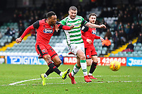 Wes Thomas of Grimsby Town left has a shot on goal and nearly scores his hat trick during Yeovil Town vs Grimsby Town, Sky Bet EFL League 2 Football at Huish Park on 9th February 2019
