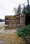 Scenic viewing  along the Kancamagus Highway (route 112), which is  one of New England's scenic byways located in the White Mountain National Forest of New Hampshire, USA. Kancamagus Highway Pass Elevation 2855 sign
