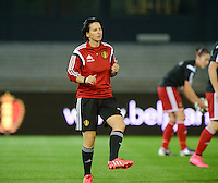 20150922 - LEUVEN ,  BELGIUM : Belgian assistant coach Tamara Cassimon pictured during the female soccer game between the Belgian Red Flames and Bosnia and Herzegovina , the first game in the qualification for the European Championship in France 2017  , Thursday 22 September 2015 at Stadion Den Dreef  in Leuven , Belgium. PHOTO DAVID CATRY