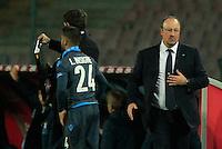 Rafael Benitez  Lorenzo Insigne durante l'incontro di ritorno della semifinale  Tim Cup tra     Napoli - Lazio allo  Stadio San Paolo  di Napoli ,08 Aprile  2015