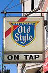 Heileman's Old Style beer sign hanging in front of a bar in Lincoln Park, Chicago, Illinois