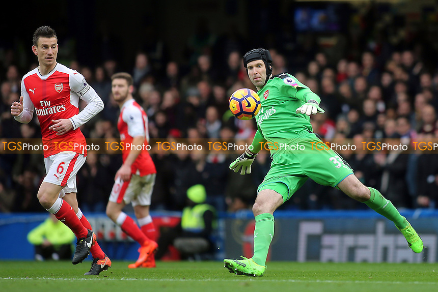 Arsenal goalkeeper, Petr Cech, kicks the ball upfield during Chelsea vs Arsenal, Premier League Football at Stamford Bridge on 4th February 2017