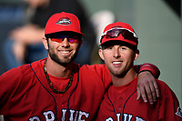 Red Sox prospects C.J. Chatham, left, and Cole Brannen of the Greenville Drive pose for a photo before a game against the Rome Braves on Friday, April 13, 2018, at Fluor Field at the West End in Greenville, South Carolina. Rome won, 10-6. (Tom Priddy/Four Seam Images)