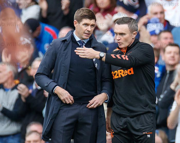 28.09.2018 Rangers v Aberdeen: Steven Gerrard and Tom Culshaw