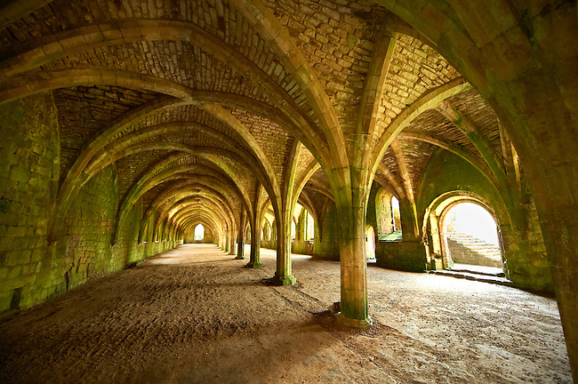 Gothic arches of the great hall of Fountains Abbey , founded in 1132, is one of the largest and best preserved ruined Cistercian monasteries in England. The ruined monastery is a focal point of England's most important 18th century Water, the Studley Royal Water Garden which is a UNESCO World Heritage Site. Near Ripon, North Yorkshire, England