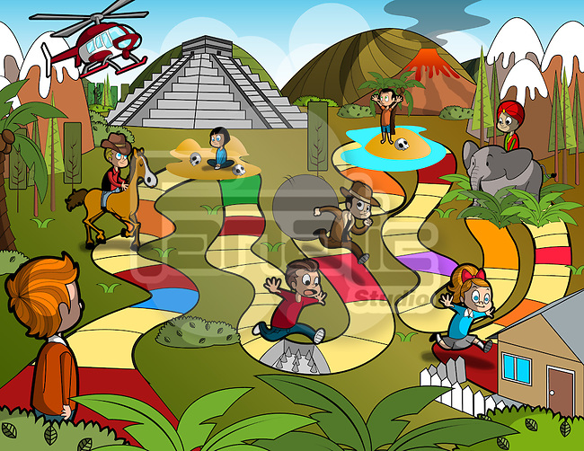 Illustrative image of children on colorful and risky walkway representing board game