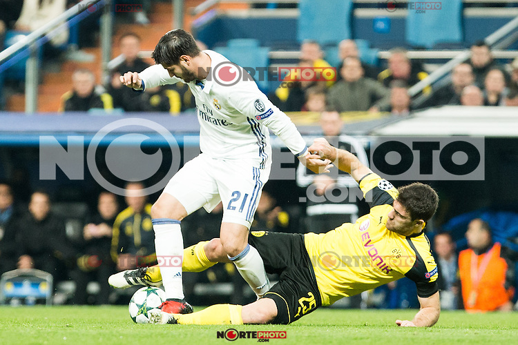 Real Madrid's Alvaro Morata Borussia Dortmund Sokratis Papastathoppulos during Champions League match between Real Madrid and Borussia Dortmund  at Santiago Bernabeu Stadium in Madrid , Spain. December 07, 2016. (ALTERPHOTOS/Rodrigo Jimenez) /NortePhoto.com