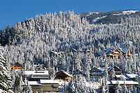 Whistler, BC, British Columbia, Canada - Snow Covered Houses and Trees on Whistler Mountain, Southwestern BC Region, Winter