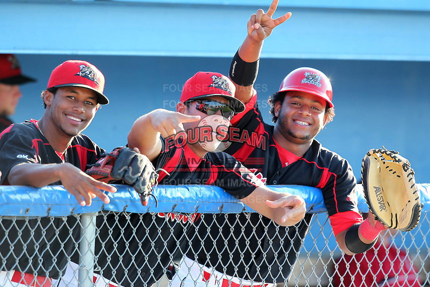 Batavia Muckdogs shortstop Yunier Castillo, Jon Rodriguez, and Audry Perez before a game vs. the Williamsport Crosscutters at Dwyer Stadium in Batavia, New York July 26, 2010.   Batavia defeated Williamsport 3-2.  Photo By Mike Janes/Four Seam Images