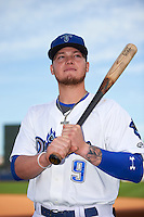 Tulsa Drillers Alex Verdugo (9) poses for a photo before a game against the Arkansas Travelers on April 28, 2016 at ONEOK Field in Tulsa, Oklahoma.  Tulsa defeated Arkansas 5-4.  (Mike Janes/Four Seam Images)