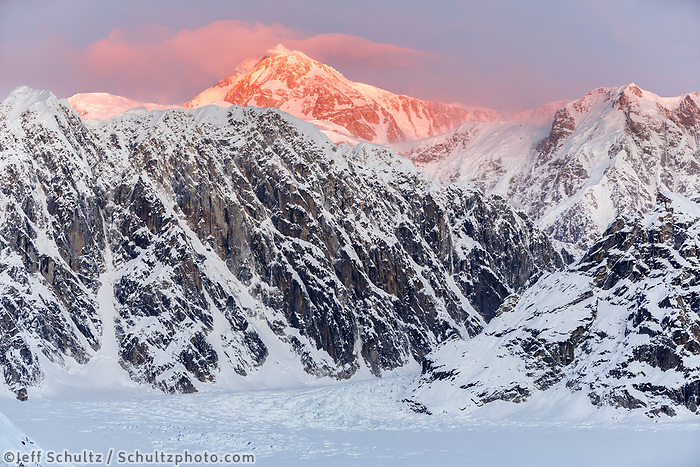 Sunrise hits the top of Denali in this winter landscape image.   in the Ruth Glacier and Amphitheater in the Alaska Range.  Winter 2017   models<br /> <br /> Photo by Jeff Schultz/SchultzPhoto.com  (C) 2017  ALL RIGHTS RESERVED