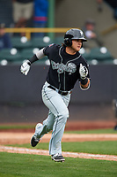 Lansing Lugnuts designated hitter Bo Bichette (10) runs to first base during a game against the Clinton LumberKings on May 9, 2017 at Ashford University Field in Clinton, Iowa.  Lansing defeated Clinton 11-6.  (Mike Janes/Four Seam Images)