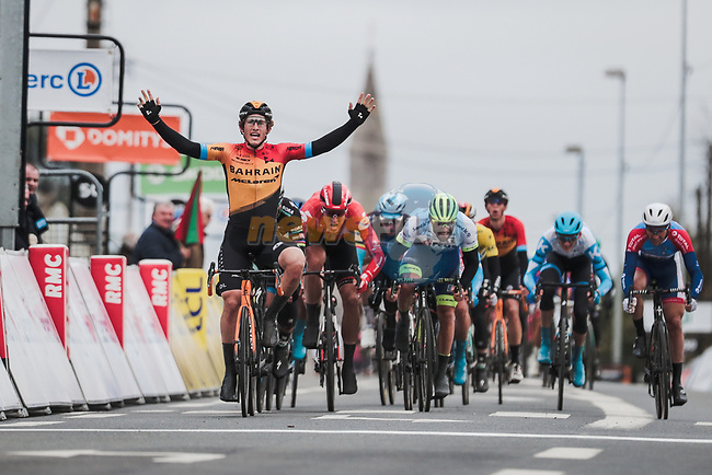 Ivan Garcia Cortina (ESP) Bahrain-Mclaren wins Stage 3 of the 78th edition of Paris-Nice 2020, running 212.5km from Chalette-sur-Loing to La Chatre, France. 10th March 2020.<br /> Picture: ASO/Fabien Boukla | Cyclefile<br /> All photos usage must carry mandatory copyright credit (© Cyclefile | ASO/Fabien Boukla)