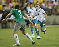 Amy LePeilbet #3 of Abby's XI gets ready to tackle Amy Rodriguez #17 of Marta's XI during the WPS All-Star game at KSU Stadium in Kennesaw, Georgia on June 30 2010. Marta XI won 5-2.
