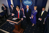 United States President Donald J. Trump delivers remarks on the COVID-19 (Coronavirus) pandemic alongside members of the Coronavirus Task Force in the Brady Press Briefing Room at the White House in Washington, DC, March 18, 2020, in Washington, D.C.  Standing behind the President, from left to right: US Secretary of Veterans Affairs (VA) Robert Wilkie, US Vice President Mike Pence, Dr. Deborah L. Birx, White House Coronavirus Response Coordinator, and US Secretary of Defense Dr. Mark T. Esper.<br /> Credit: Kevin Dietsch / Pool via CNP/AdMedia