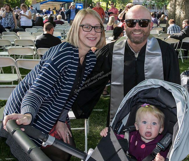 Beth and David Cotter and baby River during the University of Nevada College of Liberal Arts and Donald W. Reynolds School of Journalism graduation ceremony on Saturday morning, May 20, 2017.