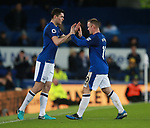 Michael Keane of Everton replaces Wayne Rooney of Everton during the premier league match at the Goodison Park Stadium, Liverpool. Picture date 2nd December 2017. Picture credit should read: Simon Bellis/Sportimage