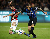 Calcio, Serie A: Inter Milano - AC Milan , Giuseppe Meazza stadium, .October 21, 2018.<br /> Inter's captain Mauro Icardi (r) in action with Milan's captain Alessio Romagnoli (l) during the Italian Serie A football match between Inter and Milan at Giuseppe Meazza (San Siro) stadium, October 21, 2018.<br /> UPDATE IMAGES PRESS/Isabella Bonotto