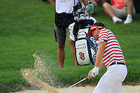 Keegan Bradley (USA) chips from a bunker at the 18th green during Sunday's Final Round of the 2012 World Golf Championship Bridgestone Invitational at The Firestone Country Club, Akron, Ohio, USA 5th August 2012 (Photo Eoin Clarke/www.golffile.ie)