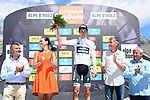 Emanuel Buchmann (GER) Bora-Hansgrohe retains the young riders white jersey on the podium at the end of Stage 7 of the Criterium du Dauphine 2017, running 168km from Aoste to Alpe d'Huez, France. 10th June 2017. <br /> Picture: ASO/A.Broadway | Cyclefile<br /> <br /> <br /> All photos usage must carry mandatory copyright credit (&copy; Cyclefile | ASO/A.Broadway)