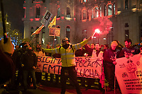 MADRID, SPAIN - DECEMBER 13: Protesters in front of the Madrid city hall during a demonstration defending public bus services (EMT) on December 13, 2019 in Madrid, Spain. The unions have called on EMT workers to strike to defend public transport in the capital against regional government cuts (Photo by Sergio Belena / VIEWpress).