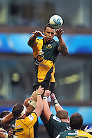 Courtney Lawes wins lineout ball for Northampton Saints. Amlin Challenge Cup Final, between Bath Rugby and Northampton Saints on May 23, 2014 at the Cardiff Arms Park in Cardiff, Wales. Photo by: Patrick Khachfe / Onside Images