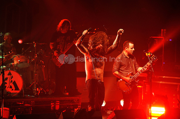 LONDON, ENGLAND - DECEMBER 5: Bjarte Lund Rolland, Erlend Hjelvik and Maciek Ofstad of 'Kvelertak' performing at Electric Ballroom , Camden on December 5, 2016 in London, England.<br /> CAP/MAR<br /> ©MAR/Capital Pictures /MediaPunch ***NORTH AND SOUTH AMERICAS ONLY***