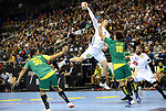 11.01.2019, Mercedes Benz Arena, Berlin, GER, BRA vs. FRA, im Bild <br /> Thiago Ponciano (BRA #35), Jose Toledo (BRA #10), Mathieu Grebille (FRA #15), Luka Karabatic (FRA #22)<br /> <br />      <br /> Foto &copy; nordphoto / Engler