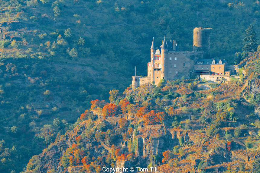 Katz Castle,  Rhine River, Germany , Rhineland Region. 13th Century Castle Upper Middle Rhine Valley UNESCO World Heritage Site