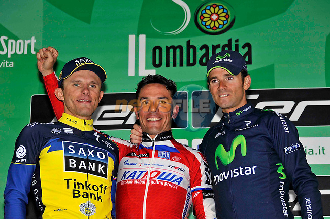 Joaquin Oliver Rodriguez (ESP) Katusha wins the 107th edition 2013 Tour of Lombardy, with Alejandro Valverde (ESP) Team Movistar in 2nd place and RafalMajka (POL) Team Saxo-Tinkoff in 3rd place after 242 Km starting in Bergamo and finishing in Lecco. 6th October 2013.<br /> Photo: Gian Mattia D'Alberto/lapresse/newsfile.ie<br /> 06-10-2013 Lecco<br /> Il Lombardia bicycle race