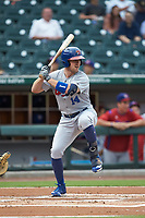 Patrick Kivlehan (14) of the Buffalo Bisons at bat against the Caballeros de Charlotte at BB&T BallPark on July 23, 2019 in Charlotte, North Carolina. The Bisons defeated the Caballeros 8-1. (Brian Westerholt/Four Seam Images)