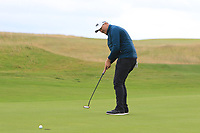 Colm Campbell Jnr (Warrenpoint) on the 16th green during Round 2 of the North of Ireland Amateur Open Championship 2019 at Portstewart Golf Club, Portstewart, Co. Antrim on Tuesday 9th July 2019.<br /> Picture:  Thos Caffrey / Golffile<br /> <br /> All photos usage must carry mandatory copyright credit (© Golffile | Thos Caffrey)