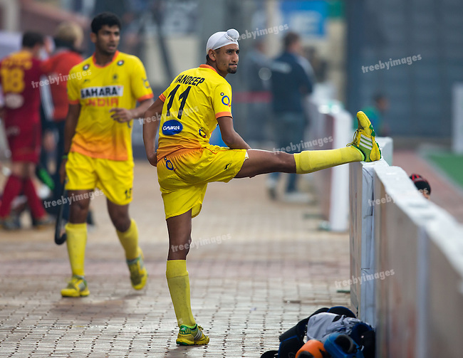 Mens Hockey World league Final Delhi 2014<br /> Day 6, 18-01-2014<br /> Position 5-6 Belgium v India<br /> Mandeep Singh of india <br /> <br /> Photo: Grant Treeby / treebyimages
