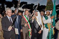 Roma 3 Ottobre 2013<br /> Celebrazioni per gli 80 Anni di Relazioni Diplomatiche tra Arabia Saudita e Italia.<br /> Il Ministro dei Beni e Attivit&agrave; Culturali e Turismo  Massimo Bray ,  il Sindaco di Roma  Ignazio  Marino e il residente della Commissione Saudita per le Antichit&agrave; e il Turismo Sua Altezza Reale  il Principe Sultan bin Salman Bin Abdul Aziz Al Saud, inaugurano la mostra &quot;Alla scoperta dell'Arabia Saudita&quot;  al Vittoriano, impugnando le  tradizionali spade arabe.<br /> Saudi Cultural Days in Rome<br />  The Minister of Arts and Culture and Tourism Maximum Bray, the Mayor of Rome Ignazio Marino,  President of the Saudi Commission for Tourism and Antiquities  His Royal Highness Prince Sultan bin Salman bin Abdul Aziz Al Saud, opened the exhibition &quot;Discovery  Saudi Arabia &quot;at the Vittoriano Monument, holding the traditional Arab swords