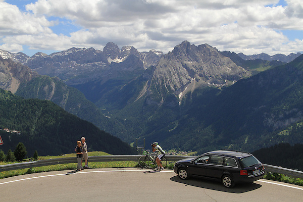Visitors and cyclist, Dolomites, northern Italy, Europe. .  John offers private photo tours in Denver, Boulder and throughout Colorado, USA.  Year-round. .  John offers private photo tours in Denver, Boulder and throughout Colorado. Year-round.