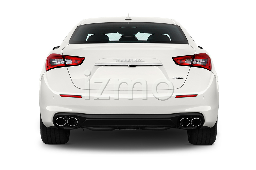 Straight rear view of a 2018 Maserati Ghibli Base 4 Door Sedan stock images
