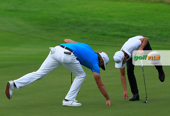 Johan Carlsson (SWE) &amp; Joakim Lagergren (SWE) on the 1st green during the Round 2 of the 2016 BMW International Open at the Golf Club Gut Laerchenhof in Pulheim, Germany on Friday 24/06/16.<br /> Picture: Golffile | Thos Caffrey