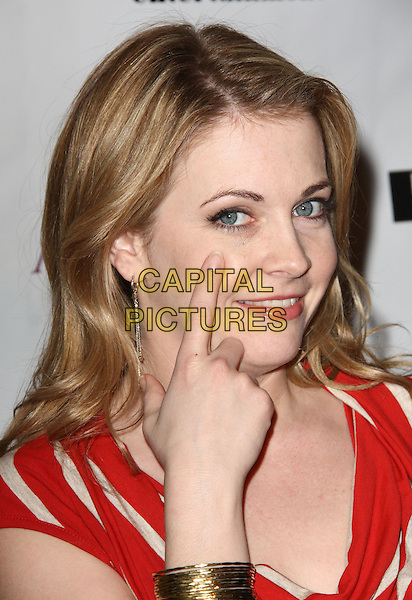 "MELISSA JOAN HART. Lupus LA Raises Awareness with ""Get Lucky for Lupus"" held At Andaz Hotel, West Hollywood, California, USA..February 25th, 2010.headshot portrait red white stripe hand finger gold bracelet .CAP/ADM/KB.©Kevan Brooks/AdMedia/Capital Pictures."