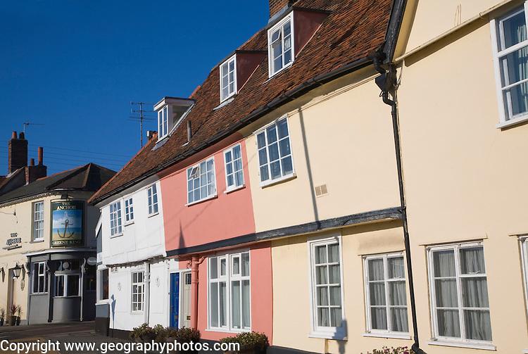 Historic buildings in Quay Side, Woodbridge, Suffolk, England