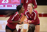 STANFORD, CA - September 9, 2018: Tami Alade, Jenna Gray at Maples Pavilion. The Stanford Cardinal defeated #1 ranked Minnesota 3-1 in the Big Ten / PAC-12 Challenge.