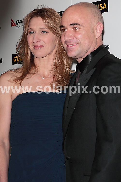 **ALL ROUND PICTURES FROM SOLARPIX.COM**                                             **SYNDICATION RIGHTS FOR UK, AUSTRALIA, DENMARK, PORTUGAL, S. AFRICA, SPAIN & DUBAI (U.A.E) & ASIA (EXCLUDING JAPAN) ONLY**                                                                                  Caption:  2011 G'Day USA Los Angeles Black Tie Gala Arrivals at The  Hollywood Palladium  CA, USA                                                                               This pic: Steffi Graf and Andre Agassi                                                                                             JOB REF:12704        PHZ       DATE: 22. 01.2011                                                         **MUST CREDIT SOLARPIX.COM OR DOUBLE FEE WILL BE CHARGED**                                                                      **MUST AGREE FEE BEFORE ONLINE USAGE**                               **CALL US ON: +34 952 811 768 or LOW RATE FROM UK 0844 617 7637**