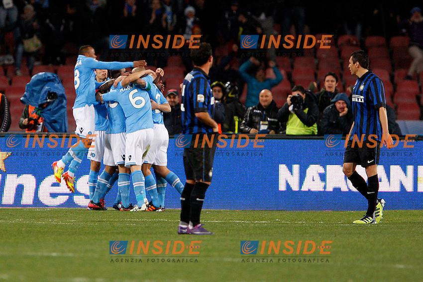 """Esultanza del Napoli.Goal Celebration.Napoli 26/02/2012 Stadio """"S.Paolo"""".Football / Calcio Serie A 2011/2012.Napoli vs Inter.Foto Insidefoto Paolo Nucci"""