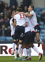 Bolton Wanderers' Mark Beevers celebrates scoring his side's first goal with his team mates<br /> <br /> Photographer Rob Newell/CameraSport<br /> <br /> The EFL Sky Bet Championship - Millwall v Bolton Wanderers - Saturday 24th November 2018 - The Den - London<br /> <br /> World Copyright &copy; 2018 CameraSport. All rights reserved. 43 Linden Ave. Countesthorpe. Leicester. England. LE8 5PG - Tel: +44 (0) 116 277 4147 - admin@camerasport.com - www.camerasport.com