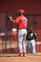 Philadelphia Phillies pitcher Randy Alcantara (11) during a Minor League Spring Training game against the Pittsburgh Pirates on March 23, 2018 at the Carpenter Complex in Clearwater, Florida.  (Mike Janes/Four Seam Images)