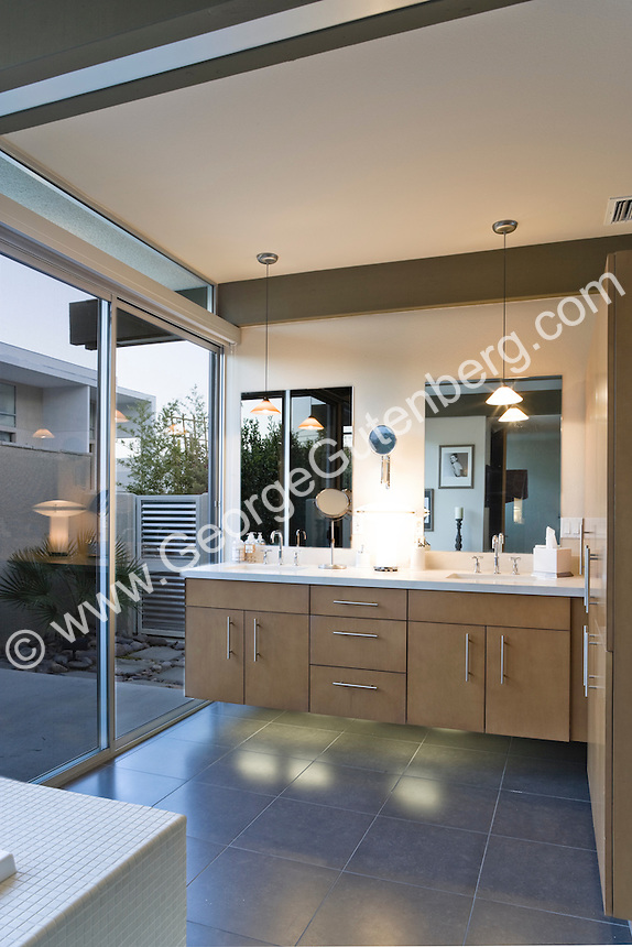 Stock photo of mid-century modern bathroom Stock photo of master bath, en suite, bathroom